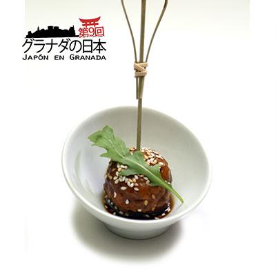 Tsukune de pollo y salsa teriyaki