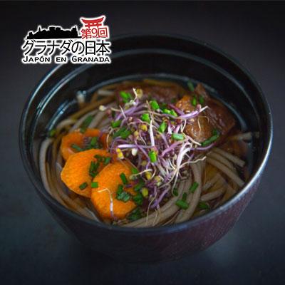 Niku soba: Sopa de fideos soba con Kakuni&Moyashi